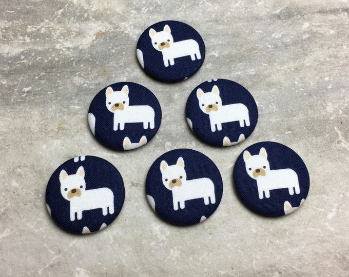 Dog Magnets - French Bulldogs on Navy - Set of 6 - Refrigerator Magnets - Office Decor