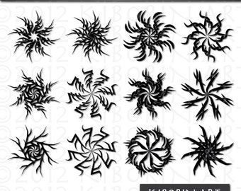 48 Tribal Symbols Digital Clipart - Great for Tattoo Design