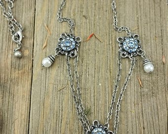 Vintage Blue/ Silver Chandelier Necklace