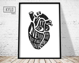 Valentines Gift, Love Print, Love Typography, Love Printable Art, Instant Download, Love Quote, Gift For Her, Black and White, Wall Decor