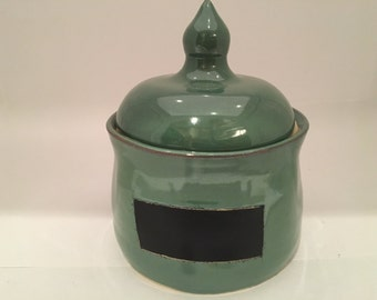 Hand Thrown Pottery Chalkboard Canister (Med)