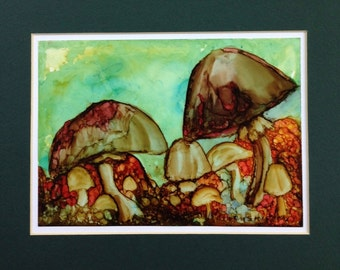 Toadstools  -- Alcohol Ink on Paper