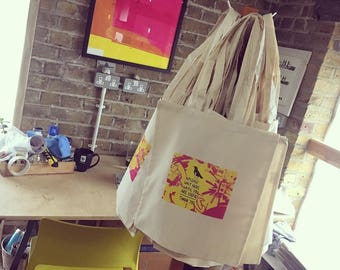 Useful hand screen printed bags, 100% organic cotton