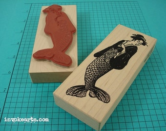 Geisha Mermaid Stamp / Invoke Arts Collage Rubber Stamps