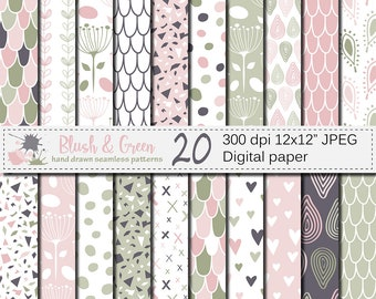 Blush Pink and Green Seamless Digital Paper, Hand Drawn Scales, Hearts, Leaves, Terrazzo Pattern, Digital Scrapbook Papers