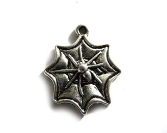 10 Silver Spider in Web Charms 22mm