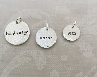 Sterling Silver Hammered Name Charms