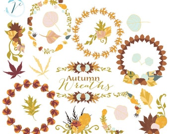 50% OFF SALE! Clip Art - Autumn Leaves and Wreaths: Digital Clipart