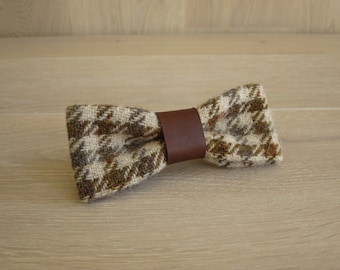 Harris Tweed Slim Bow Tie for man, Wedding bow tie - Valley