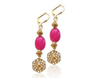 Rose boucles d'oreilles de jaspe rubis pierres précieuses, boucles d'oreilles pierre naturelle, cadeau Saint-Valentin pour elle, cadeau pour maman, cadeaux d'anniversaire pour elle, boucles d'oreilles mariées