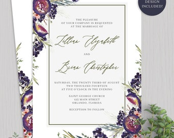 Wedding Invitation Purple Watercolor Wedding Invitation Printable Spring Floral Wedding Invitations Plum Summer Wedding Invitations - 2031