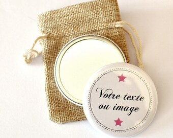 1 personalized Pocket mirror / / / text, colors, patterns, image choice