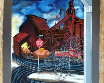 Original painting -Ladle Cars at Dofasco Steel Mill