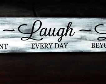 """Large 8"""" x 48"""" Primitive - Live Laugh Love wood sign"""