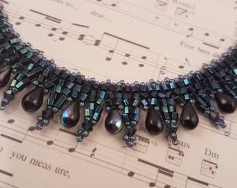 Black Sparkle Hand-woven Beaded Necklace