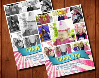 Girly Circus Carnival Birthday Thank You Card Photo Collage