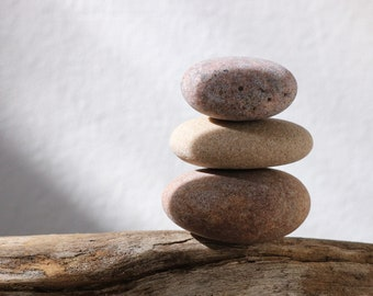 Meditation Altar Cairn - Small Stone Stack - Stress Relief Gift - Stacking Pebbles - Zen Balance - Terrarium Stones - Mindfulness