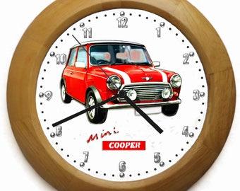 Mini Cooper Wooden Wall Clock