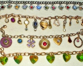 4 Vintage Rhinestone charm bracelets all wearable