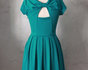 50% OFF SALE / Holly Golightly Jade Teal green dress // pockets // pleated skirt // back cut out & bow // bridesmaid // vintage inspired