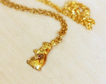 Bunny Necklace Gold, Gold Rabbit Necklace, Rabbit Necklace, Vintage Rabbit Necklace, Bunny Charm Necklace, Bunny Necklace, Gold Bunny