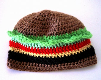 Hamburger Cheeseburger Hat Teen Adult Size Crochet Hat Crazy Hat Day