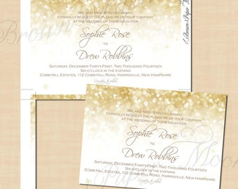 White Gold Sparkles Holiday Party Invitations Christmas New