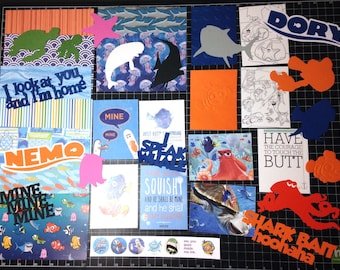 Finding Nemo  Scrapbook Kit, Finding Dory Scrapbook Kit, Scrapbook Paper, die cuts, planner, Project Life, Nemo, Dory, Fish, Mine, stickers