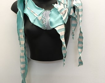 Sky Gazing...Skinny Scarf, OOAK, Feather, Recycled ,Reconstructed