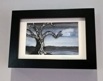 Framed original watercolour painting, 'catching the last of the light'
