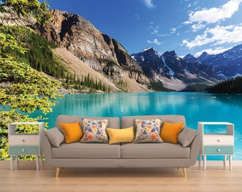 Turquoise Mountain Lake Peel And Stick Wall Mural, Photo Wallpaper, Eco Certified, Wall Decor, Wall Art, Wallpaper, Wall Hanging, Mural