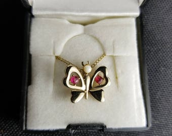 Necklace- Pink and gold butterfly with chain