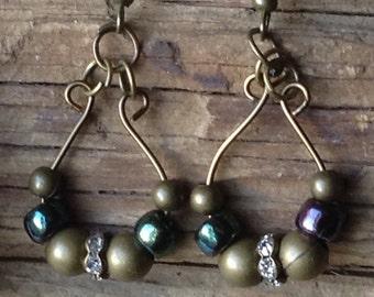 Brass Blue & Rhinestone Earrings
