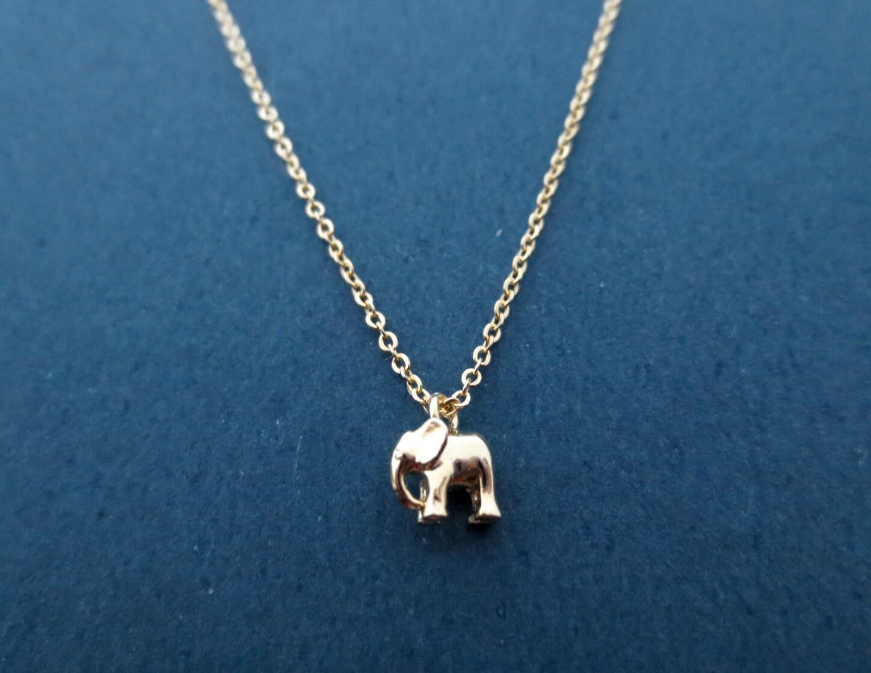 Tiny Cute Gold Baby Elephant Dumbo Necklace Animal