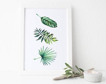 Botanical Watercolour Leaves Print