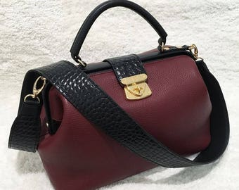 Leather Top Handle Bag, Marsala Leather Handbag Top Handle, Women's Leather Bag KF-1470
