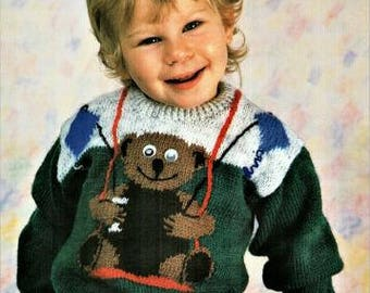 Toddlers and Childs Teddy Bear Knitting Pattern pdf, Bear on a swing, sizes 22, 24, 26, 28, and 30 inch chest, double knit or worsted weight