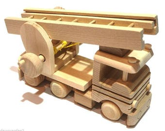 Handmade Wooden Toy Fire Truck With a Ladder