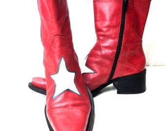 1980 Lady Gaga style boots/ Vintage red leather boots / size 9 / Country boots