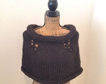 Highland Knits, Inspired by the Outlander Series, Romantic Rich Chocolate, Capelet/Cowl/Shrug, with Attitude