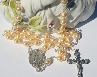 Light Gold Pearl Rosary, Our Lady of Fatima