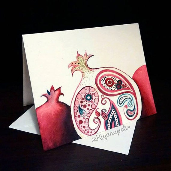 Hand painted pomegranate card persian pomegranate greeting m4hsunfo