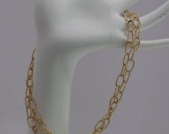 "14K Yellow Gold, 32"" Twist Loop Chain Handmade, Circa 1950"