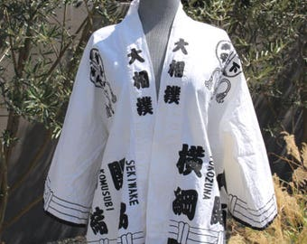 vintage black and white cotton canvas kimono wrap top jacket