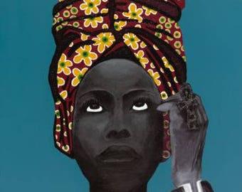 Erykah Badu - Headwrap & Tiffany Blue Canvas Print 16x24  (from Original Acrylic Paint + Swarovski Bead by @artisforoxgen)