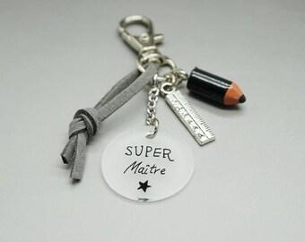 """porte clé daim cabochon """"Super Maître"""" règle - cadeau scolaire personnalisable"""