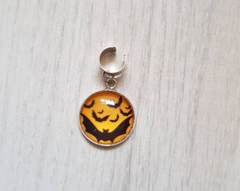 Halloween bat dreadlock bead