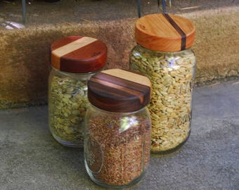 3 Wooden Mason Jar Lids with Seal - True screw top - Regular Mouth - Mixed dual woods