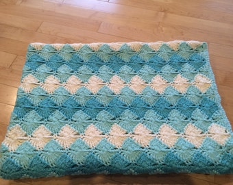 Sea Glass Blanket, unique, soft. Argyle, Ottoman blanket, hues of blue, wedding present, baby shower gift, diamond design