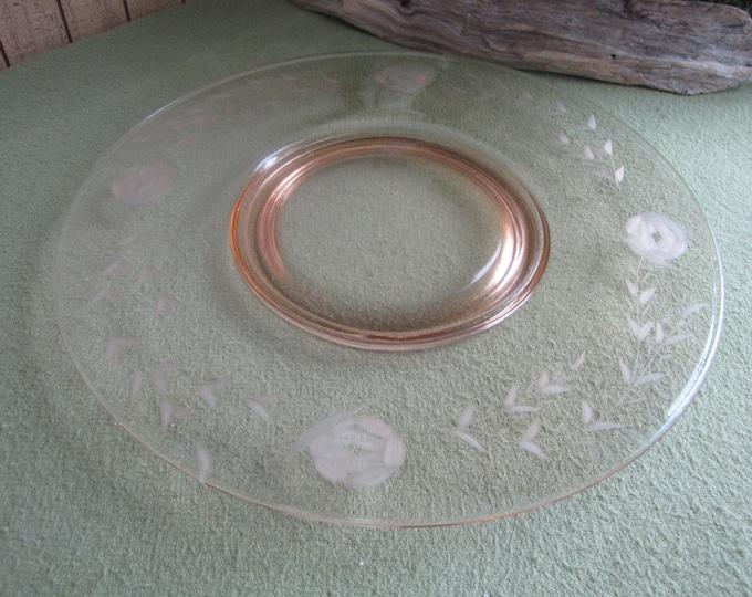 Vintage Pink Blush Depression Glass Tray Etched Large Serving Platter